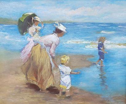 ZENOTTI (Xxe siècle) Elégantes à la plage....