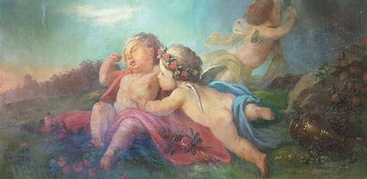 Ecole italienne du XVIIIe siècle Les anges....