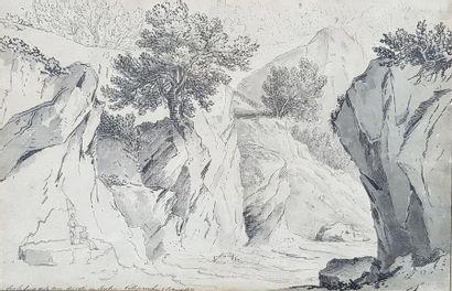 Ecole du XIXe siècle Bord mer à Imbic, 1831....