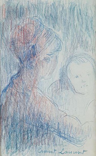 Ernest J. LAURENT (1859-1929); Femme et enfant....