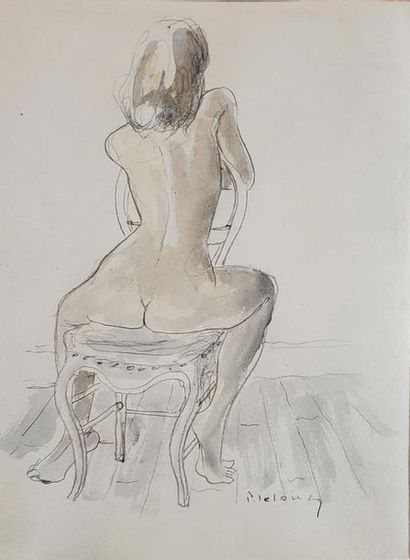 Pierre LELONG (1908-1984). Femme nue de dos....