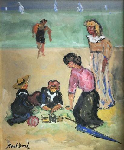 Marcel DUVAL (XXe siècle). Sur la plage....