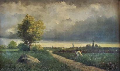 Henri Charles TROUVILLE (XIXe siècle). Paysage...