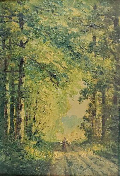 Georges JULIEN (XIXe-XXe siècle). Promeneuse...