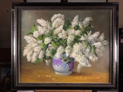 Colette PRIVAT (1932). Bouquet de lilas et...