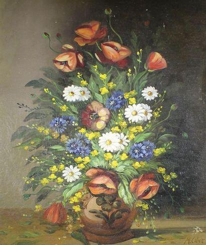 M. CIBOR (XXe siècle); Le bouquet de fleurs...