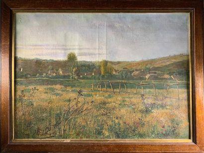 Guy MICHON (1925-1979) Paysage au village...