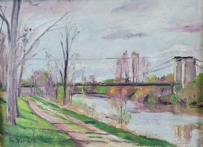 Andrée VIVREL (1886-1976). Paysage au pont...