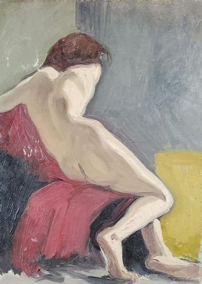 Ecole du XXe siècle. Femme nue de dos. Huile...