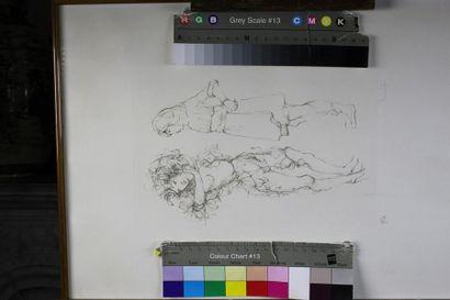 Lot de deux gravures et d'un tableau : -...