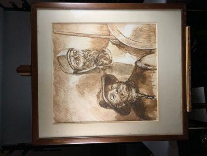 Ecole du XXe siècle. Don Quichotte et Sancho...