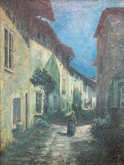 Claude LIGONESCHE (1881-1949)  Une ruelle...