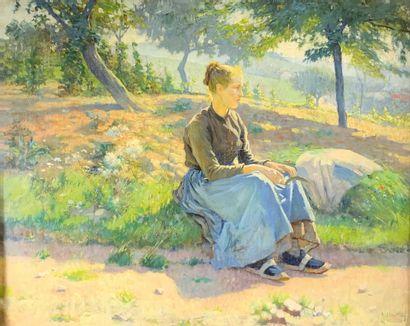 René CHRETIEN (1867-1942)  La faneuse.  Huile...