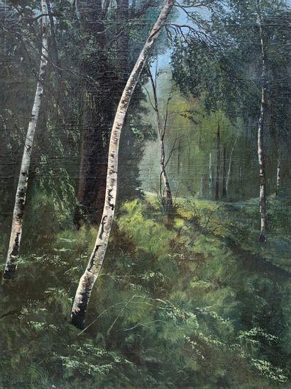 H. DEZAUTIERE (XIXe siècle)  Le bois de bouleaux....