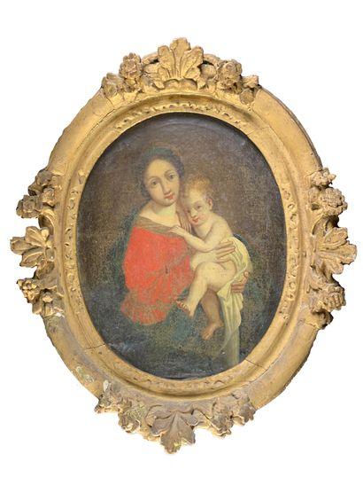 Ecole française du XVIIe siècle  Sainte famille....