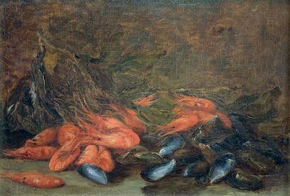 Ecole du XXe siècle  Nature-morte aux crustacés....