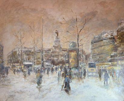 Jules PÉTILLON (1845-1899)  Place de la République,...