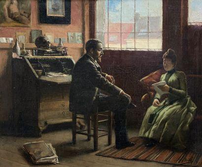 Jacques DORÉ (1861-1929)  La lettre.  Huile...