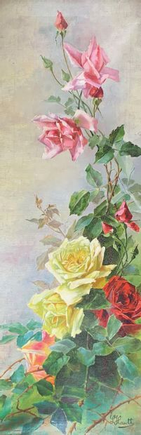 L. HAUTH (XXe siècle)  Les rosiers.  Paire...