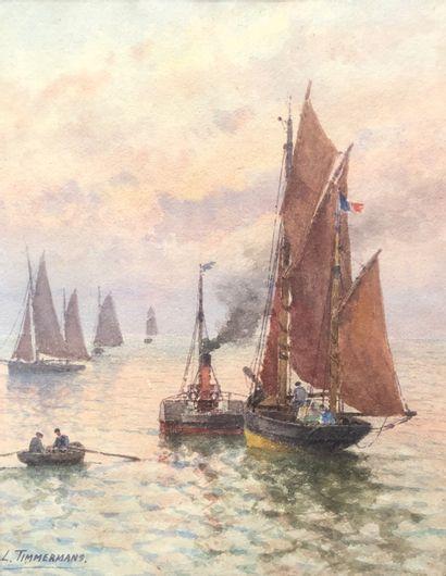 Louis Etienne TIMMERMANNS (1846-1910)  Voiliers...