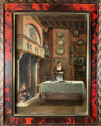 Edmond Theodor VAN HOVE (1853-1913)  La servante....