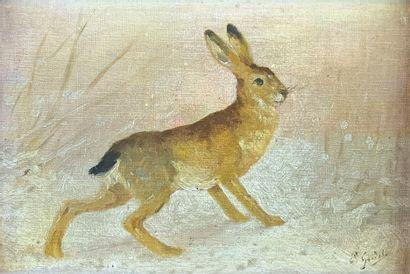 Émile GRIDEL (1839-1901)  Le lièvre.  Huile...