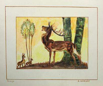 André MARGAT (1903-1999)  - Cerf bramant....