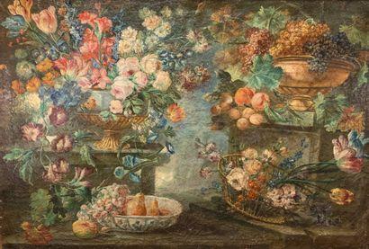 Ecole du XIXe siècle  Corbeille de fleurs...
