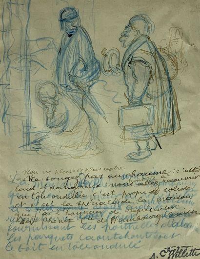 Adolphe WILLETTE (1857-1926)  Projet d'illustration....