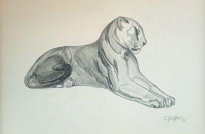 Gaston SUISSE (1896-1988) Panthère couchée,...