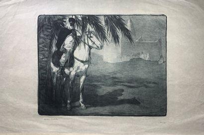 Paul JOUVE (1878-1973)_x000D_  Cavalier arabe...