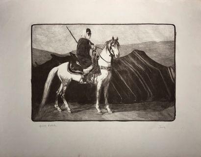 Paul JOUVE (1878-1973) Cavalier arabe devant...