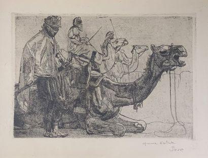Paul JOUVE (1878-1973) Touaregs et méharis...