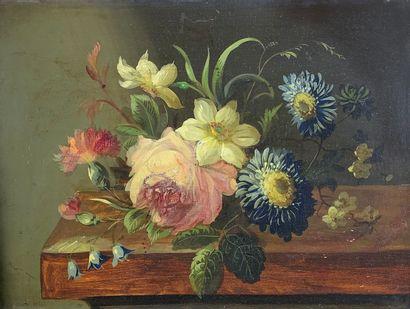 Ecole française du XIXe siècle  Fleurs.  Huile...