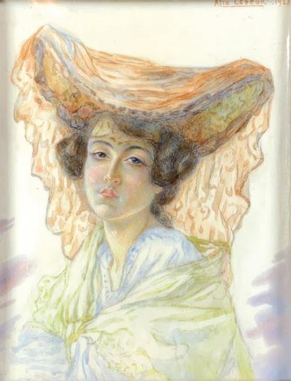 Alex LESEUR (XIXe-XXe siècle)  Portrait de...
