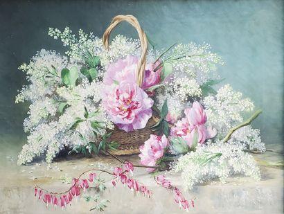 BENOIT (XXe siècle)  Pivoines et lilas.  Huile...