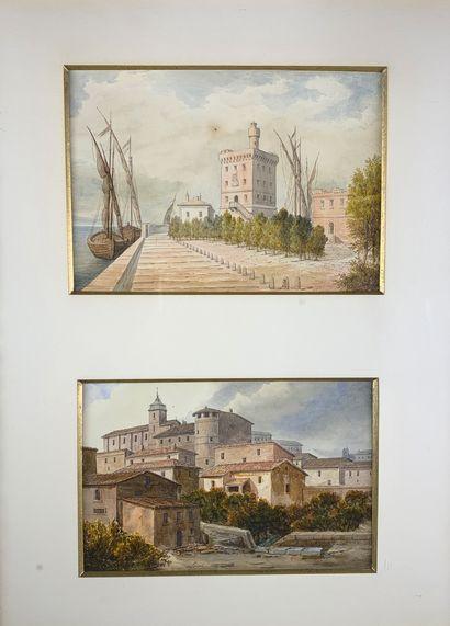 LOISEL (XIXe siècle)  Vue de port et vue...