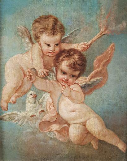 Ecole du XIXe siècle  Les angelots.  Huile...