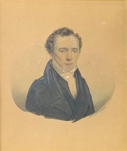 J. WICHE (XIXe siècle)  Portraits d'homme...