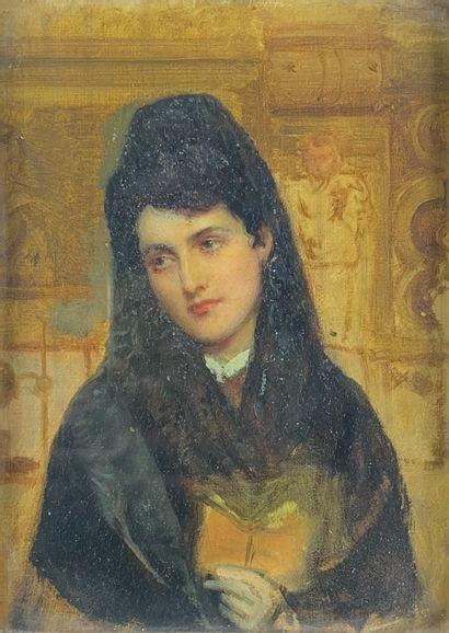 Ecole anglaise du XIXe siècle  Femme au livre....