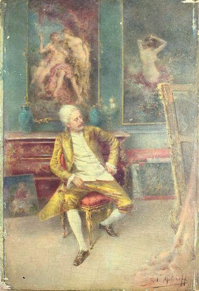 Nicolaï MALICHEFF (XIX)  L'atelier du peintre....