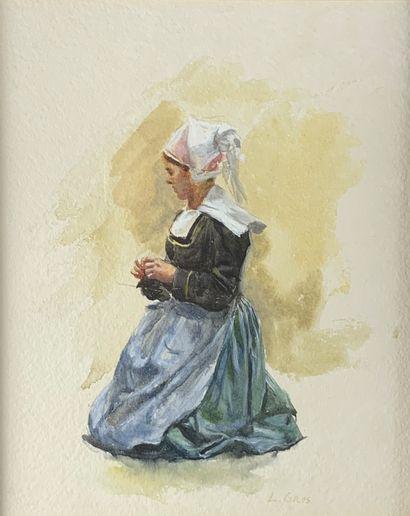 Lucien Adolphe GROS (1845-1913)  La tricoteuse...