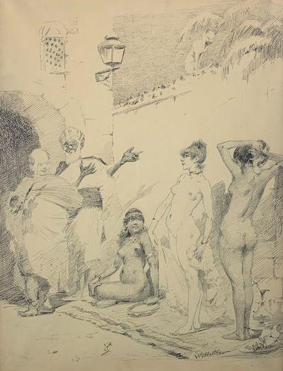 Adolphe WILLETTE (1857-1926)  Marché aux...