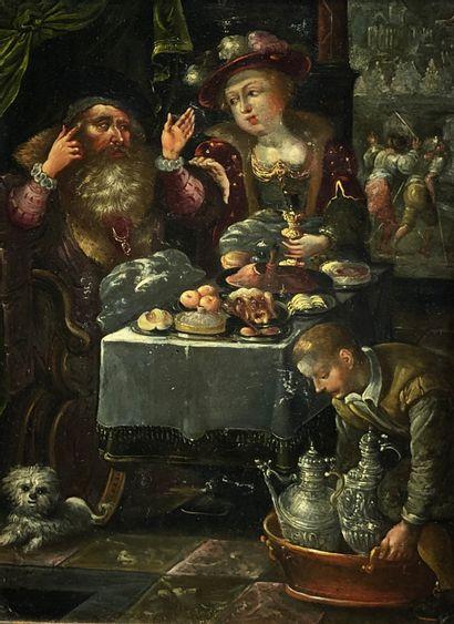 Ecole flamande du XVIIe siècle  Déjeuner....