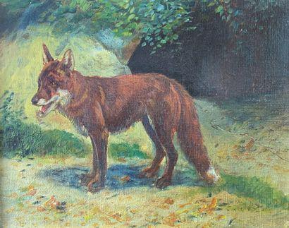 Eugène PETIT (1839-1886)  Le renard.  Huile...