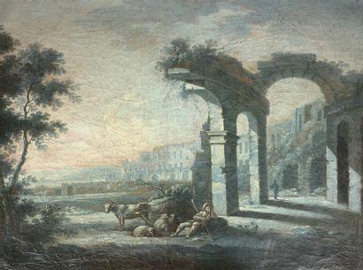 Ecole du XVIIIe siècle  Berger dans des ruines....