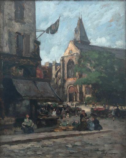 Jean LEFORT (né en 1923)  Vue de Saint Médard,...