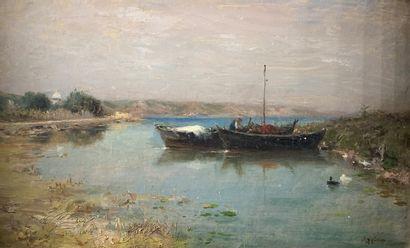 Adolphe APPIAN (1818-1898)  Pêcheur amarré...