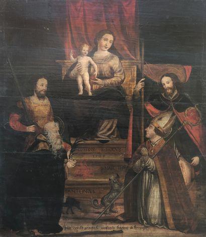 École ESPAGNOLE 1544  Vierge à l'Enfant en...