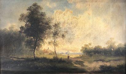 R. SEBENICO (XIXe siècle)  Paysage boisé....
